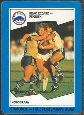 1989 Stimorol Rugby League Brad Izzard trade card