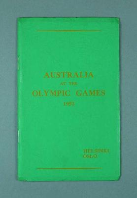 """Booklet, """"Australia at the Olympic Games 1952"""""""
