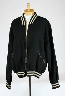 Baseball warm-up jacket worn my member of Simpson Magpie team late 1950s