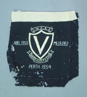 Blazer pocket worn by Winsome Cripps, VWAAA representative Australian Championships - 1950, 1952, 1954