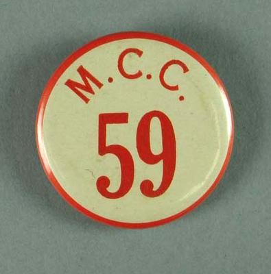 "Badge worn by MCG event duty staff, ""MCC 59"""