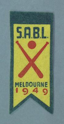 Cloth badge, SABL Melbourne 1949