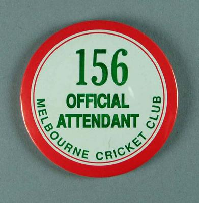 Badge, Melbourne Cricket Club Official Attendant 156
