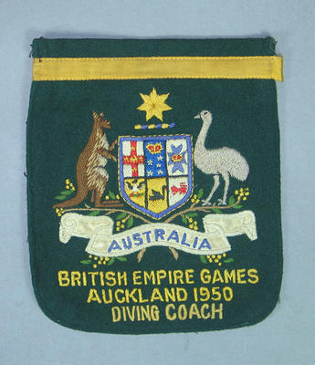 Blazer pocket, Australian 1950 British Empire Games diving coach