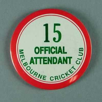 Badge, Melbourne Cricket Club Official Attendant 15
