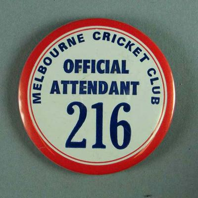 Badge, Melbourne Cricket Club Official Attendant 216
