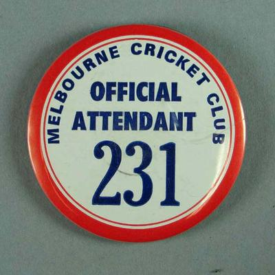Badge, Melbourne Cricket Club Official Attendant 231