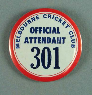 Badge, Melbourne Cricket Club Official Attendant 301