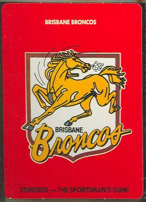 1989 Stimorol Rugby League Brisbane Broncos trade card