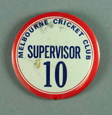 Badge, Melbourne Cricket Club Supervisor 10