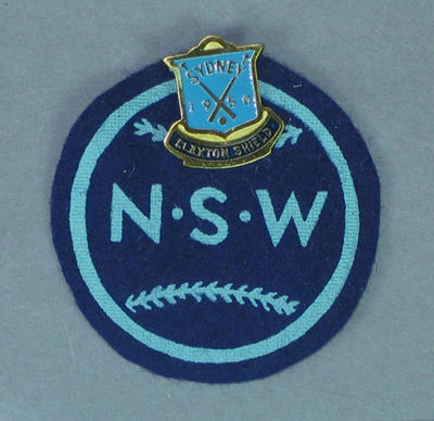 Cloth badge & lapel pin, NSW baseball c1950