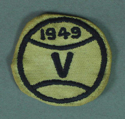 Cloth badge, Victorian baseball 1949