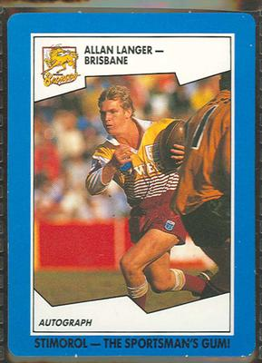 1989 Stimorol Rugby League Allan Langer trade card; Documents and books; 1989.2131.63