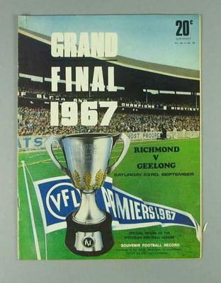 Football Record, 1967 VFL Grand Final - Richmond FC v Geelong FC