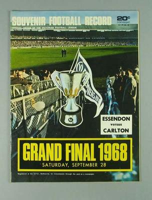 Football Record, 1968 VFL Grand Final - Essendon FC v Carlton FC; Documents and books; Documents and books; 1997.3305.45