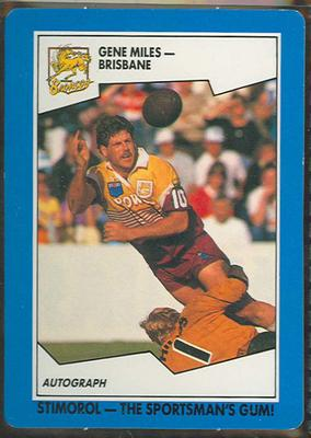 1989 Stimorol Rugby League Gene Miles trade card