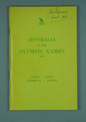 "Report, ""Australia at the Olympic Games, 1964""; Documents and books; 1990.2314.1"