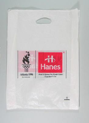Plastic bag - 1996 Atlanta Olympic Games - used by Vicki de Prazer