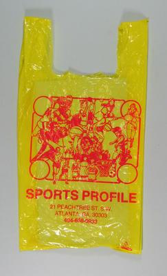 Plastic bag - 'Sports Profile' - used by Vicki de Prazer, relates to 1996 Atlanta Olympic Games