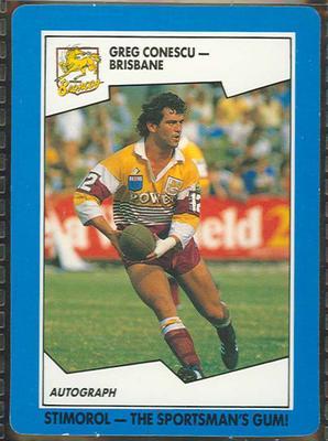 1989 Stimorol Rugby League Greg Conescu trade card