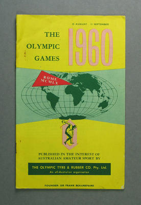 """Booklet, """"The Olympic Games 1960"""""""