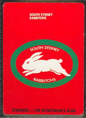 1989 Stimorol Rugby League South Sydney Rabbitohs trade card