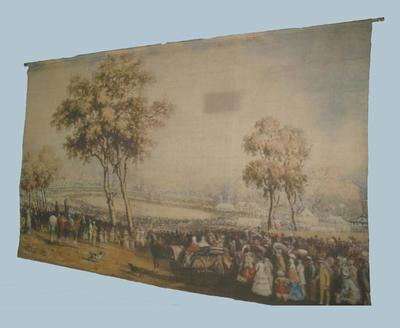 Banner printed with the image of a watercolour painting of the first international cricket match held in Australia, held at the Melbourne Cricket Ground in January 1862