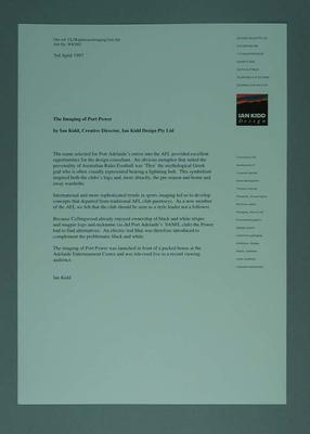 Letter from Ian Kidd Design describing Port Adelaide's  Football Club logo; Documents and books; 2006.4419.1