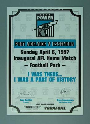 Certificate for Port Adelaide v Essendon Inaugural AFL match 6/4/1997