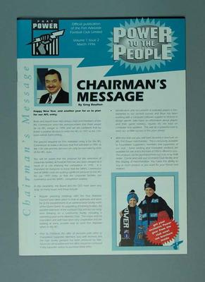 Newsletter - 'Power to the People' Vol. ,  No. 2 March 1996  re Port Adelaide FC; Documents and books; 2006.4419.6