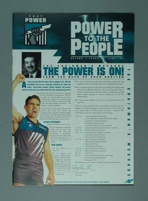 Newsletter - 'Power to the People' Vol. ,  No. 3 June 1996  re Port Adelaide FC