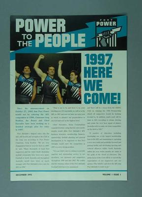 Newsletter - 'Power to the People' Vol. 1 Issue No. 1 December 1995 re Port Adelaide FC