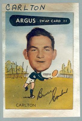 Colour photograph - 1954 Argus - VFL Football Caricature Swap Card No 11 -  Bruce Comben