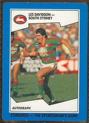 1989 Stimorol Rugby League Les Davidson trade card