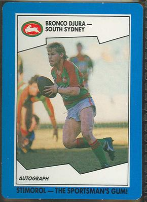 1989 Stimorol Rugby League Bronco Djura trade card