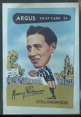 Colour photograph - 1954 Argus - VFL Football Caricature Swap Card No 24 -  Murray Weideman