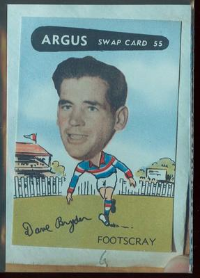 Colour photograph - 1954 Argus - VFL Football Caricature Swap Card No 55 -  Dave Bryden