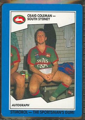 1989 Stimorol Rugby League Craig Coleman trade card