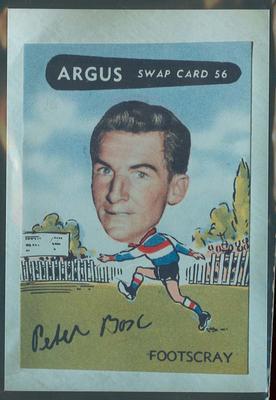Colour photograph - 1954 Argus - VFL Football Caricature Swap Card No 56 -  Peter Box