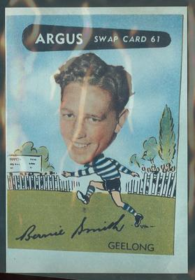 Colour photograph - 1954 Argus - VFL Football Caricature Swap Card No 61 -  Bernie Smith
