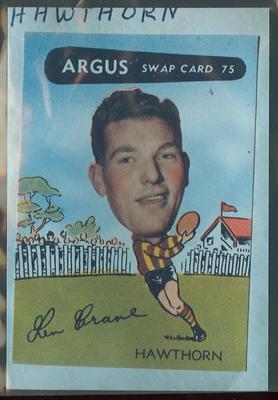 Colour photograph - 1954 Argus - VFL Football Caricature Swap Card No 75 -  Ken Crane