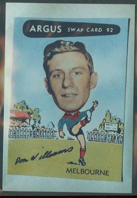 Colour photograph - 1954 Argus - VFL Football Caricature Swap Card No 92 -  Don Williams