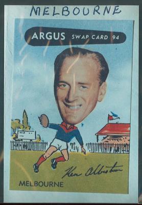 Colour photograph - 1954 Argus - VFL Football Caricature Swap Card No 94 -  Ken Albiston