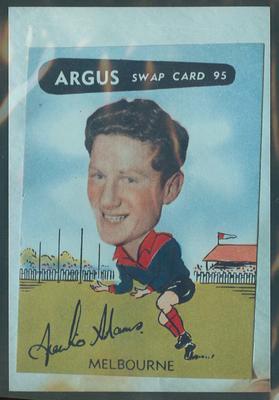 Colour photograph - 1954 Argus - VFL Football Caricature Swap Card No 95  -  Frank Adams