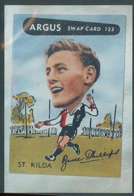 Colour photograph - 1954 Argus - VFL Football Caricature Swap Card No 123  -  Bruce Phillips