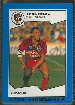 1989 Stimorol Rugby League Clayton Friend trade card; Documents and books; 1989.2131.82