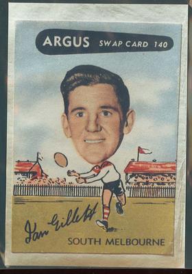 Colour photograph - 1954 Argus - VFL Football Caricature Swap Card No 140  -  Ian Gillett