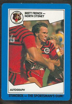 1989 Stimorol Rugby League Brett French trade card