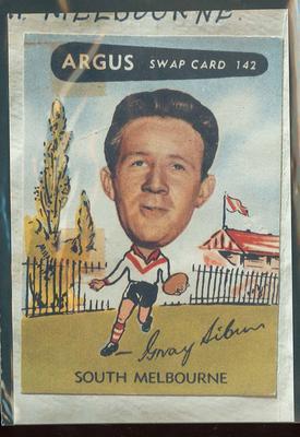 Colour photograph - 1954 Argus - VFL Football Caricature Swap Card No 142  -  Gray Sibun