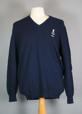 Long sleeved English cricket team jumper which belonged to M. Gatting;  navy blue with embroidered Father Time and Lords insignia.; Clothing or accessories; M15679